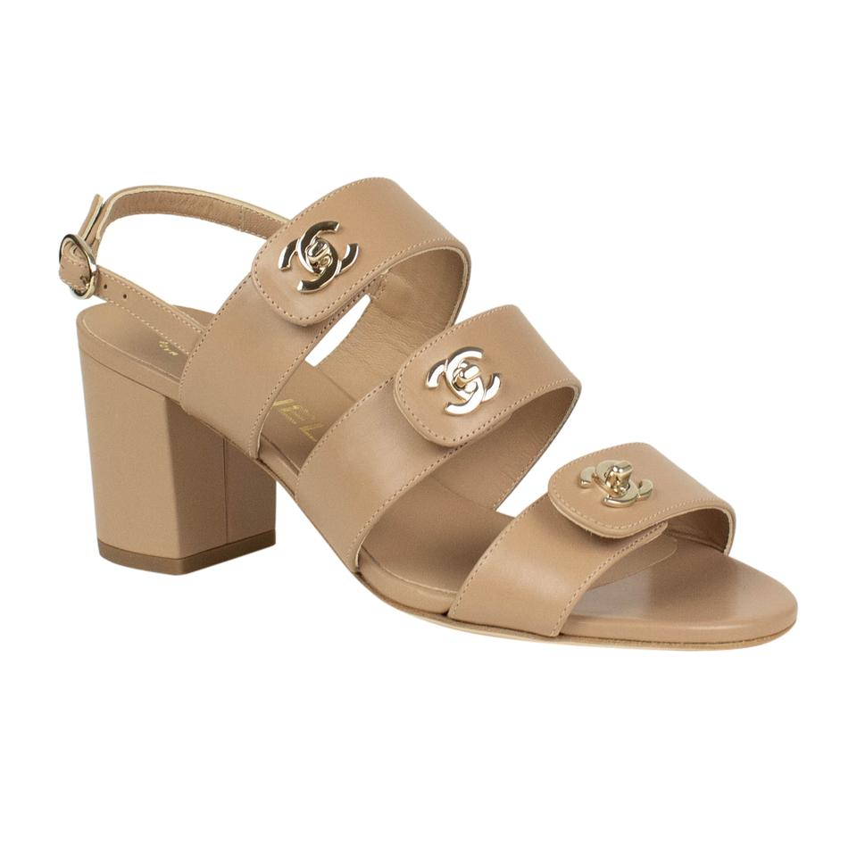 29babdc79 Chanel Beige Leather Turnlock Slingback Sandals Size EU 37 (Approx ...