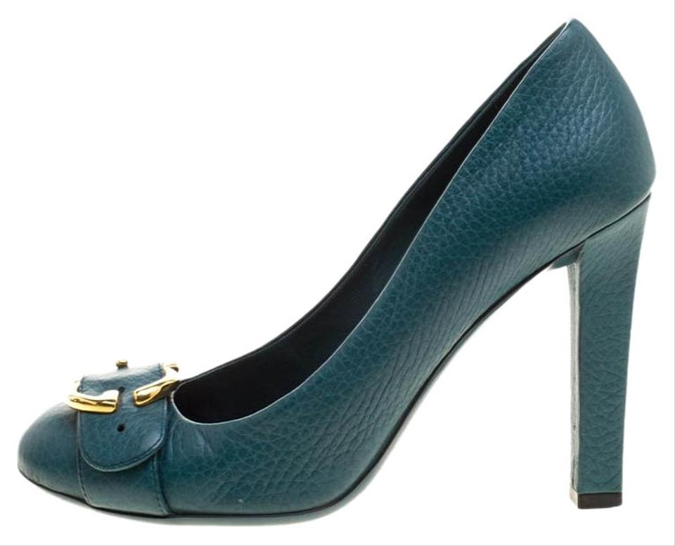 817ef686231b Gucci Green Leather Buckle Detail Round Pumps Size EU 37 (Approx. US ...