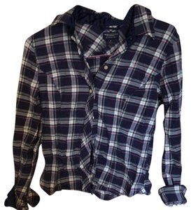 American Eagle Outfitters Flannel Plaid Grunge Country Button-up Button Down Shirt Navy