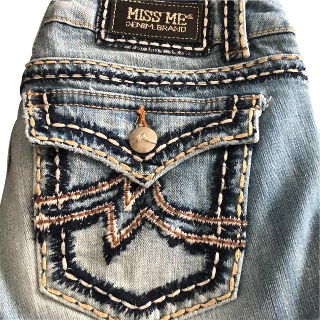 Item - Distressed Faded Denim Buckle Boot Cut Jeans Size 8 (M, 29, 30)