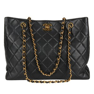 419362519ec3 Chanel Quilted Gold Hardware Vintage Leather Tote in Black