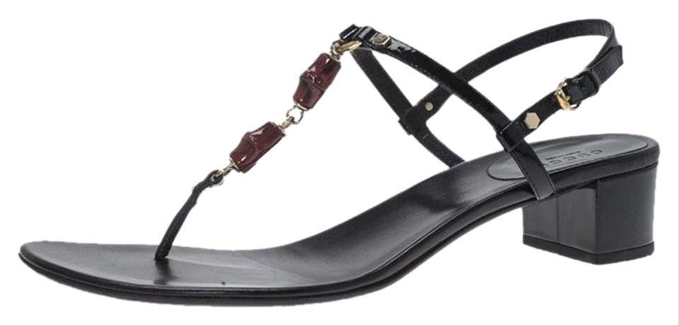 42322f939f8 Gucci Black Patent Bamboo Embellished Sandals Size EU 40.5 (Approx ...