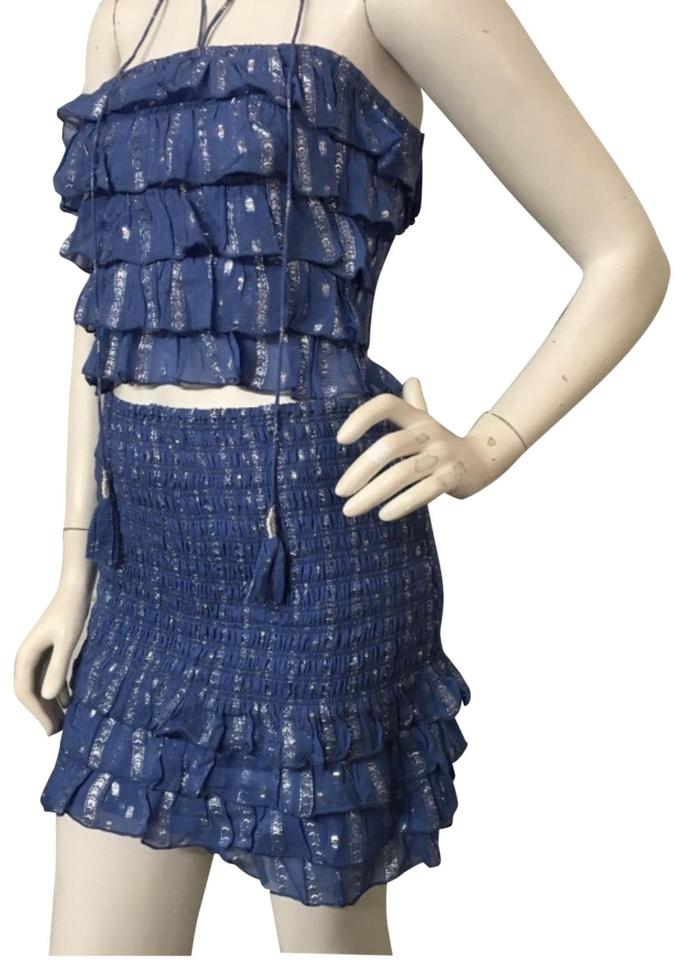 2581a28c1cc7 SAYLOR Blue and Silver Two Piece Skirt Top Set Short Night Out Dress ...