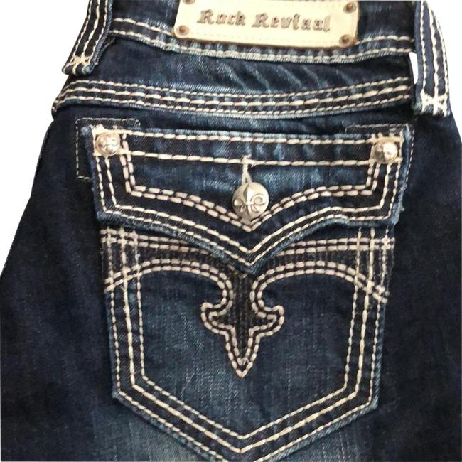 Item - Dark Rinse with Whiskering Madison Straight Boot Cut Jeans Size 8 (M, 29, 30)
