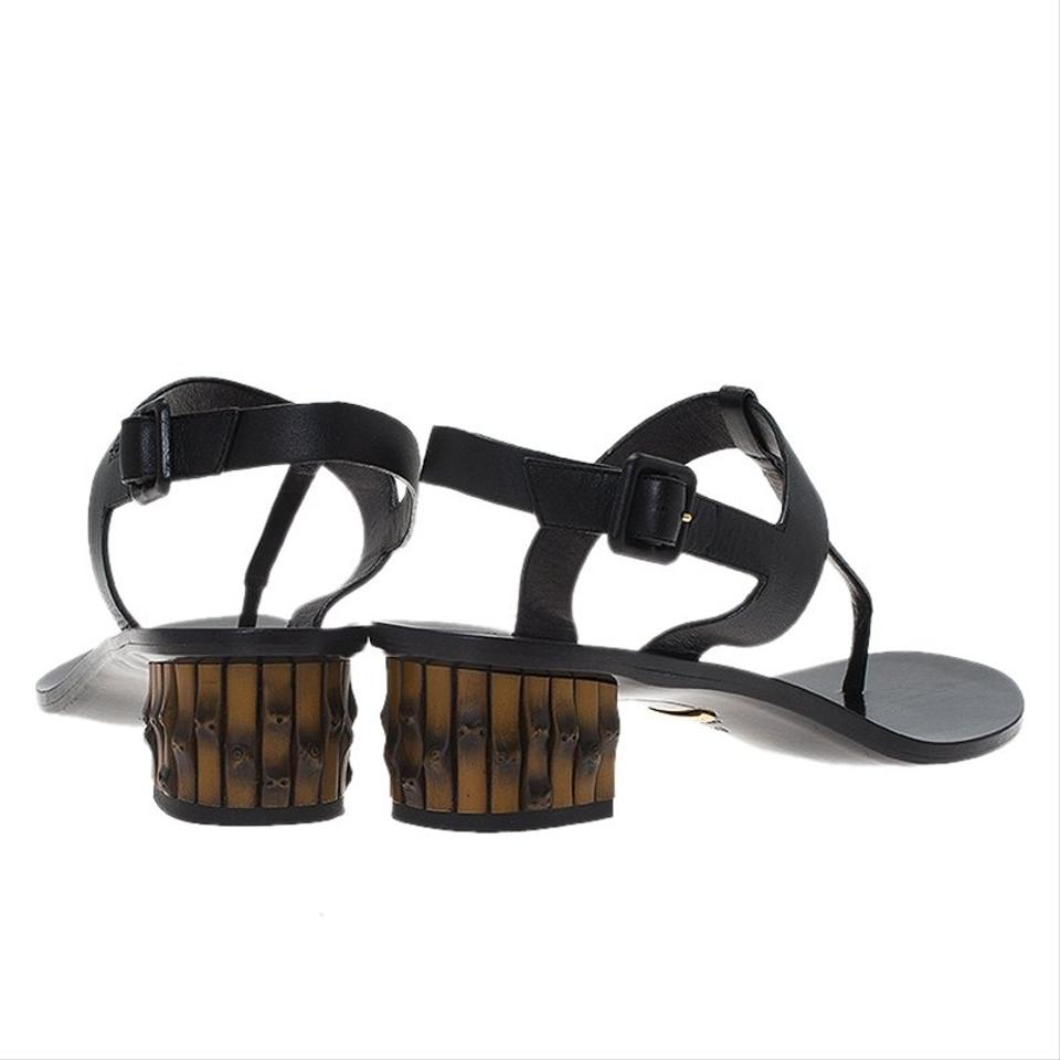 1dcc24f25a774 Gucci Black Leather Dahlia Bamboo Heel Sandals Size EU 40 (Approx ...