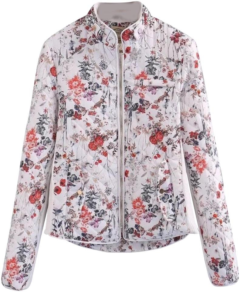 49cf34726 Zara Beige with Pink Blue Colors Sold Out Quilted Floral Small Jacket Size  2 (XS)