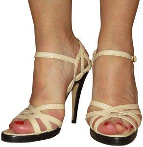 Bernie Dexter Strappy Sexy Leather Italy Buckle Off White Platforms