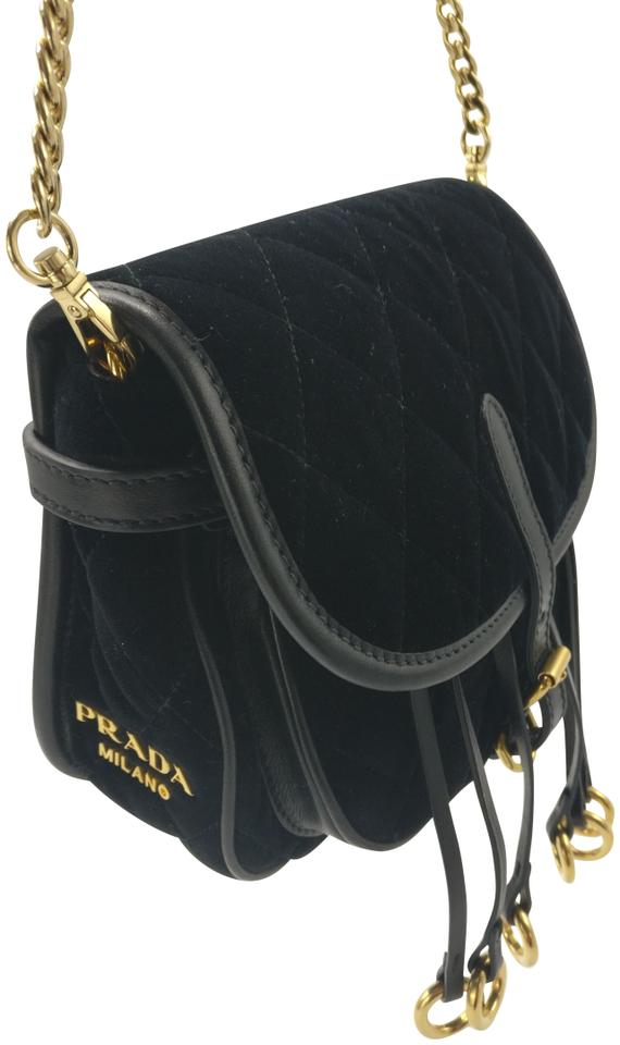 6bd9e6ca935c Prada Corsaire 2017 New 1bl002 Quilted Velvet / Belt Black Canvas Cross  Body Bag