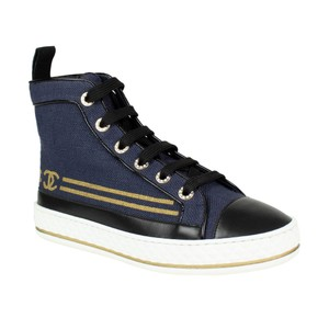 48fbe7f8aafe Chanel High Top Lace Up Canvas Gold Burlap Navy Blue Athletic