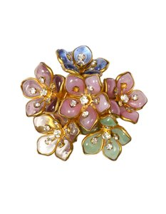 Chanel Vintage 80's Glass Goldtone Floral Brooch/Pin