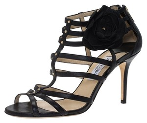 Jimmy Choo Leather Detail Black Sandals