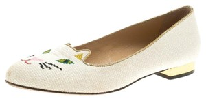 Charlotte Olympia Embroidered Canvas Cream Mules
