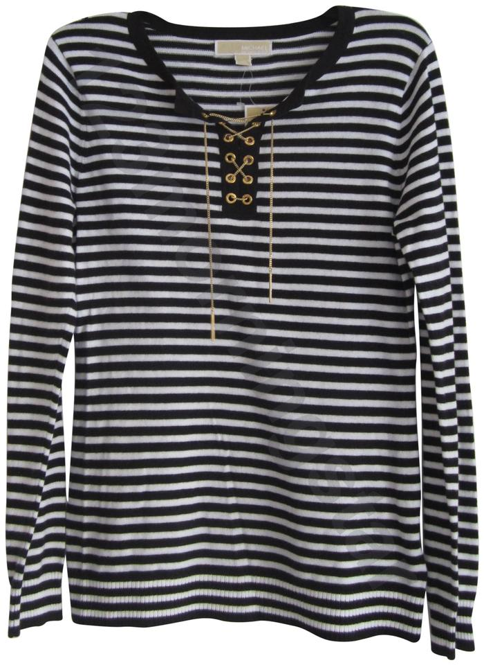 19fdf1be3a2 MICHAEL Michael Kors Chain Lace-up Split Neck Grommets Striped Solid Print  Gold Hardware ...
