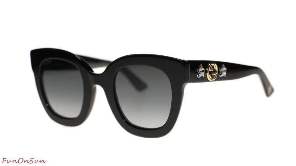0beec88468 Gucci Black Gg0208s 001 Gg 0208 Crystal Cat Eye New Sunglasses - Tradesy