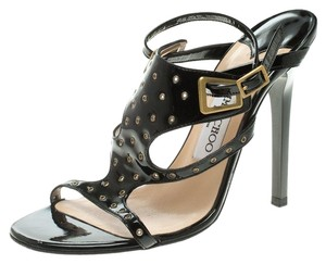 Jimmy Choo Embellished Patent Leather Strappy Black Sandals