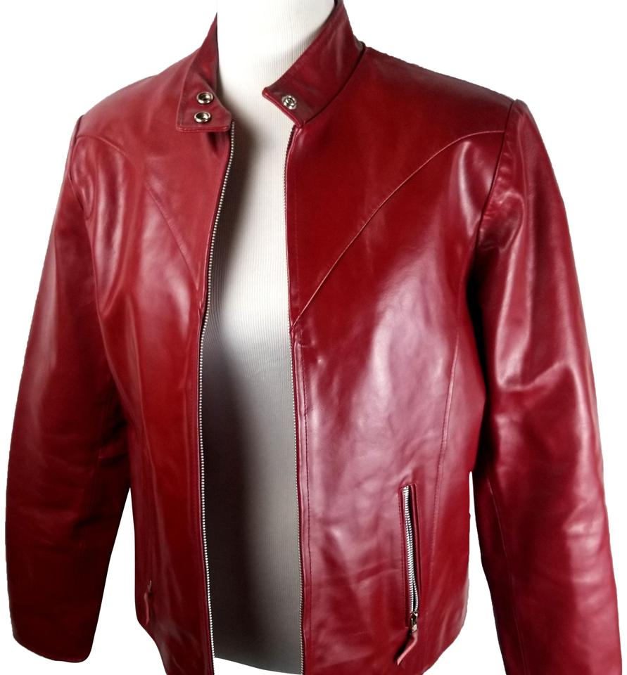 d8b0ea33d Wilsons Leather Red Womens Moto Zip Front with Corset Tie Back Jacket Size  10 (M)