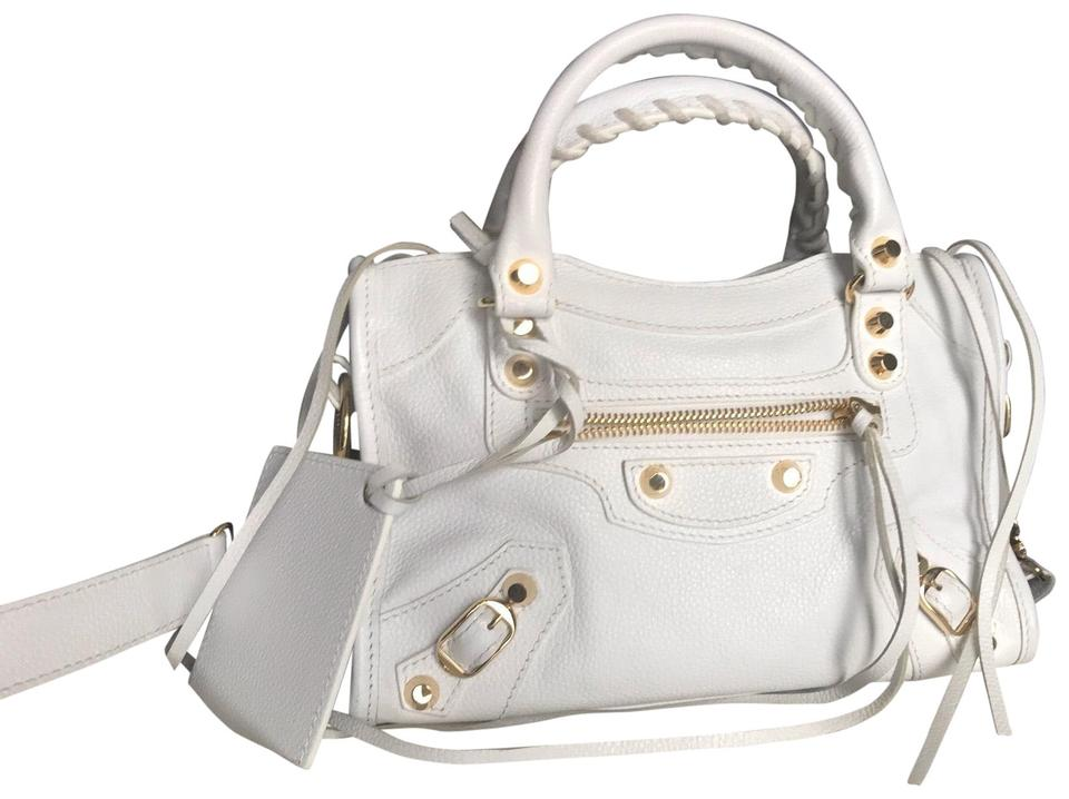 4db03210377 Balenciaga Mini City White Lambskin Leather Cross Body Bag - Tradesy