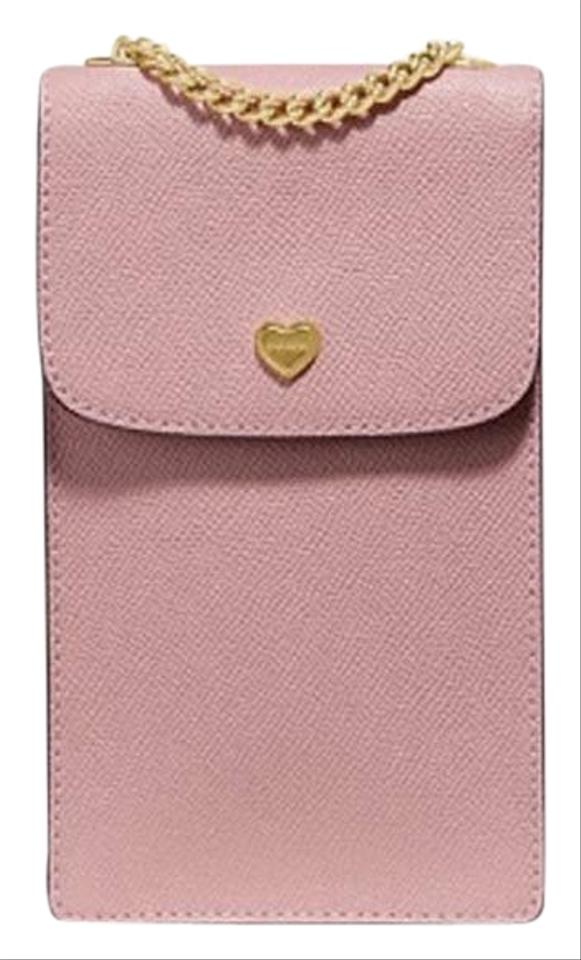 9bbff18050 Coach Phone with Lace Heart Print Ns F55636 Petal Pink Leather Cross Body  Bag