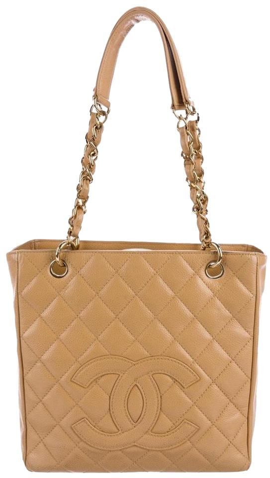 ede9375ea336 Chanel Pst Petite Shopping Cc Logo Flap Classic Tote in Beige Gold tan  caramel Image 0 ...