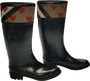 Burberry Hearts Rain Black, Red, Brown Boots