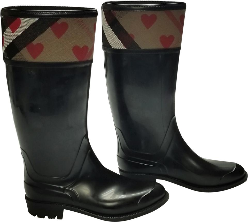 ba244a76a5cc Burberry Black Red Brown Hearts and Checks Rain Boots Booties Size ...
