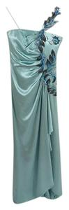 Rene Ruiz Silk Embellished Sequin Gown Evening Dress