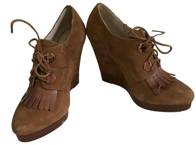Item - Brown Wedge Lace Up Boots/Booties Size US 7.5 Regular (M, B)