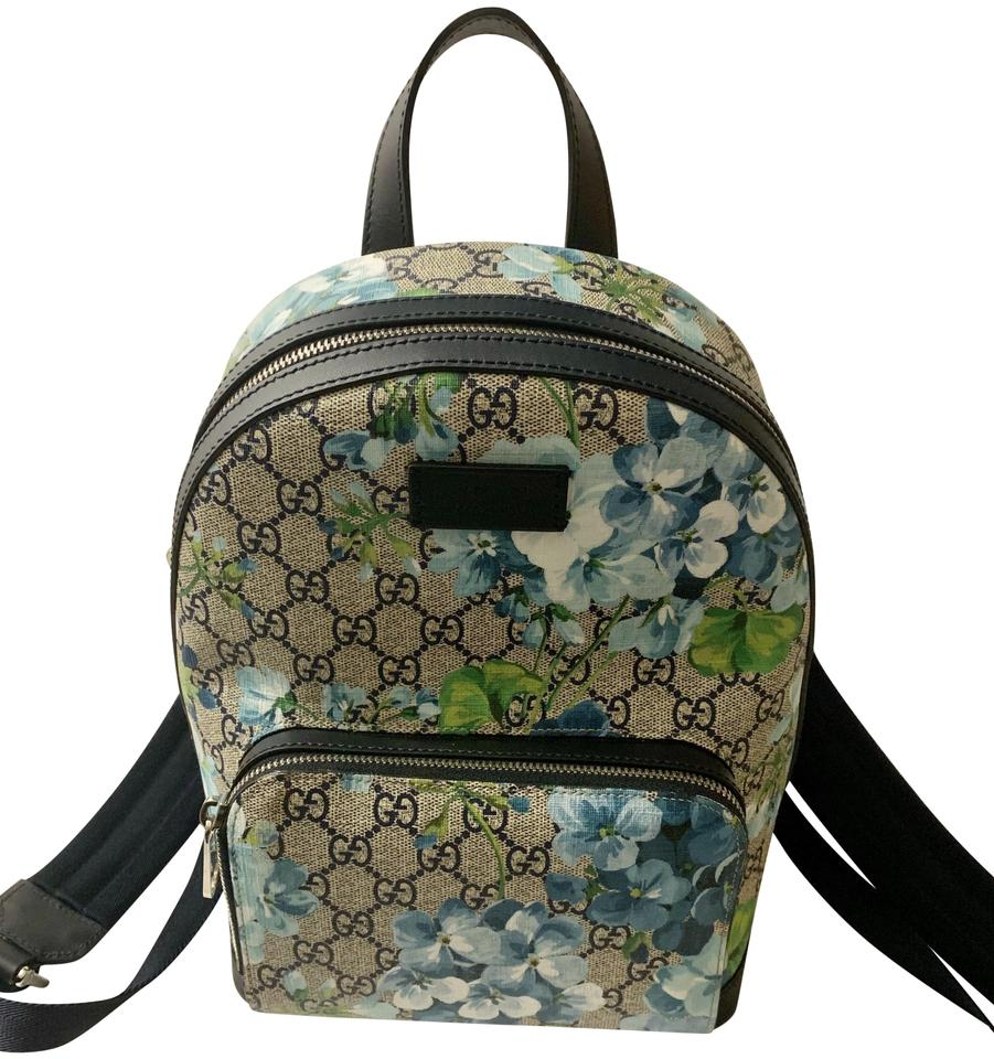cec12febc99 Gucci Bloom Small W  Beige Blue Gg Coated Canvas Beige Blue Leather Backpack