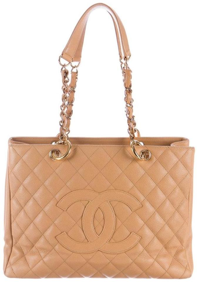 cd1ce0043312 Chanel Grand Shopping Gst Quilted Classic Timeless Shoulder Cc Beige Tan  Caramel Caviar Leather Tote