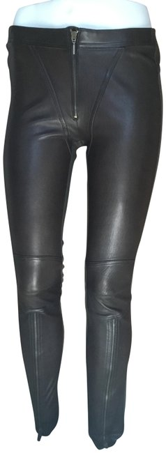 Item - Dark Brown Lambs Leather/ Fabric Pants Size 4 (S, 27)