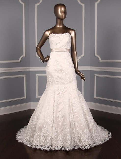 Allure Bridals Ivory and Champagne Lace W/Satin Sash 9117 Formal Wedding Dress Size 14 (L) Allure Bridals Ivory and Champagne Lace W/Satin Sash 9117 Formal Wedding Dress Size 14 (L) Image 1