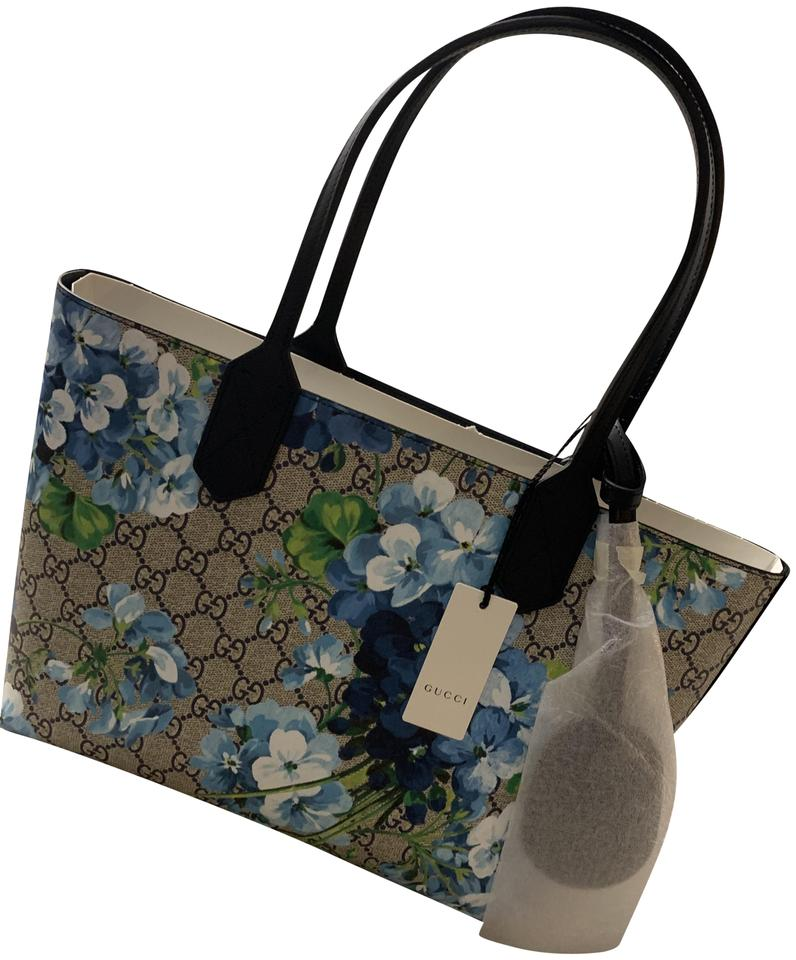 83c3775b8ff Gucci Reversible Small Bloom Beige Blue Gg Coated Canvas T Beige Blue  Leather Tote
