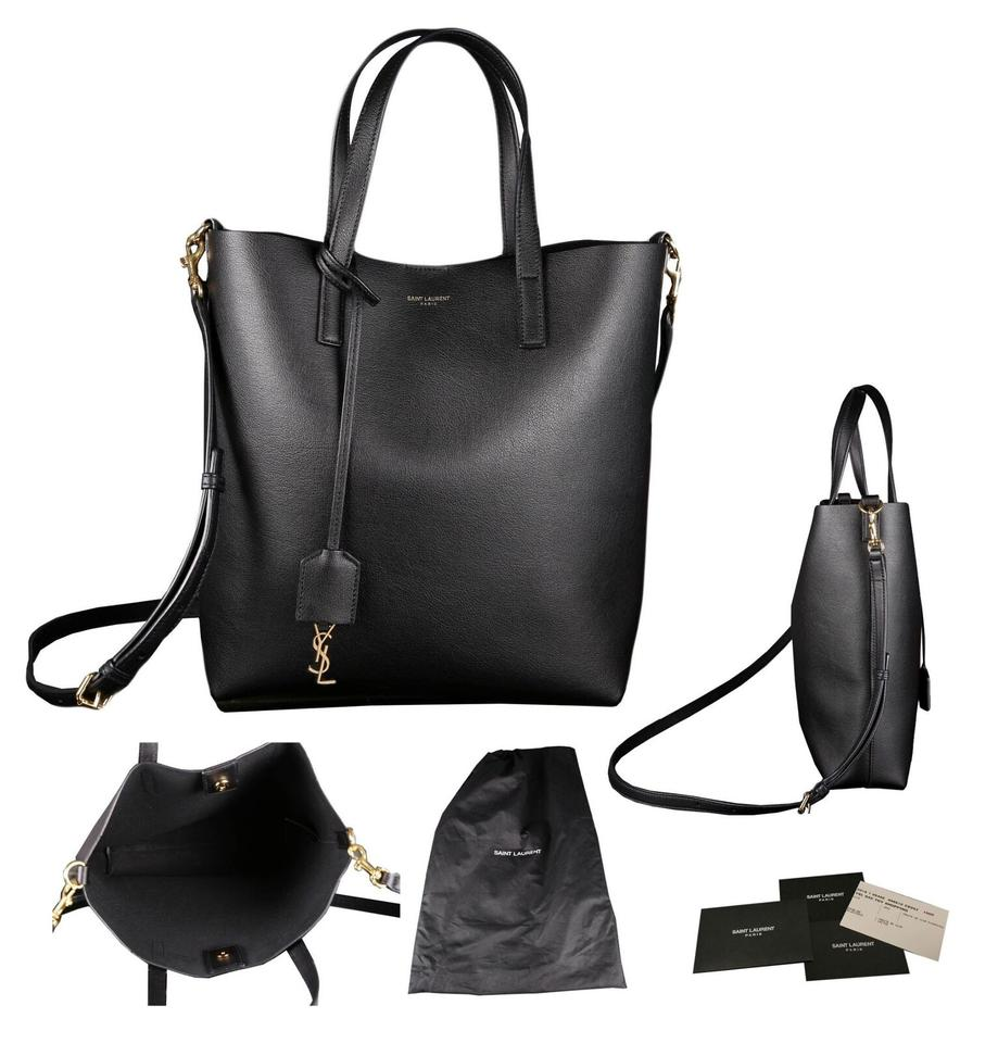 Saint Laurent Ysl Yves Supple Toy Shopping North South Black Calfskin  Leather Cross Body Bag 995a9e3a0c611
