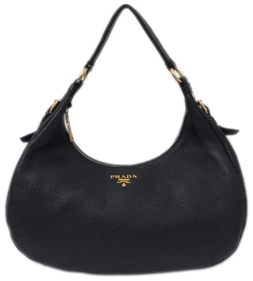12a17a6b5530d Prada Vitello Daino Black Leather Shoulder Bag - Tradesy