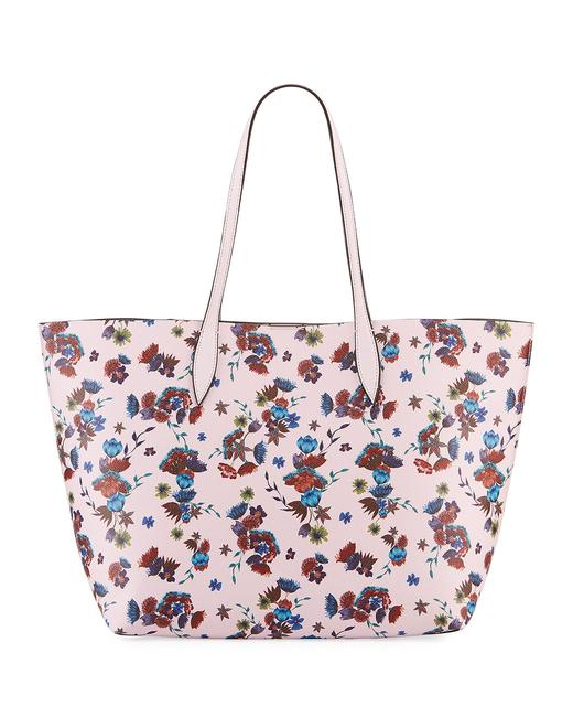 Item - Heather Floral Pink Multi Coated Canvas Tote