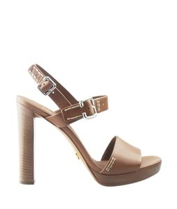 Prada Buckle Logo Stitched Wooden Heels Brown Pumps