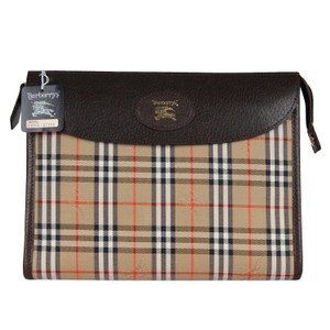 Burberry Cosmetic Case Satchel Monogram Checkered Brown Clutch