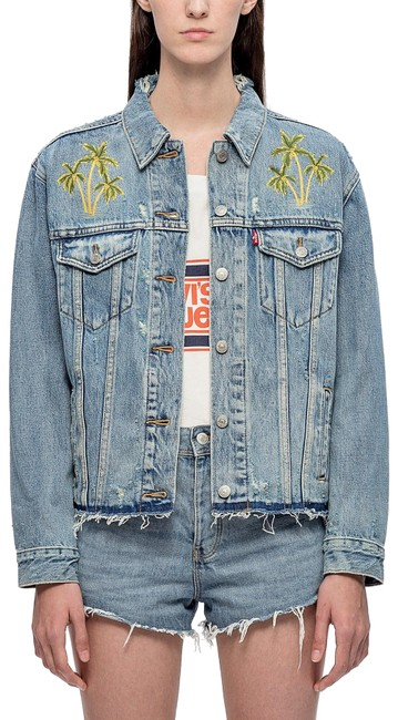 Preload https://img-static.tradesy.com/item/24821051/levi-s-blue-501-women-s-distressed-jean-embroidered-palm-trees-jacket-size-4-s-0-2-650-650.jpg