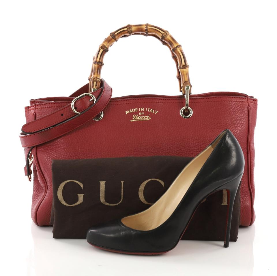 314340979bf Gucci Bamboo Shopper Medium Red Leather Tote - Tradesy