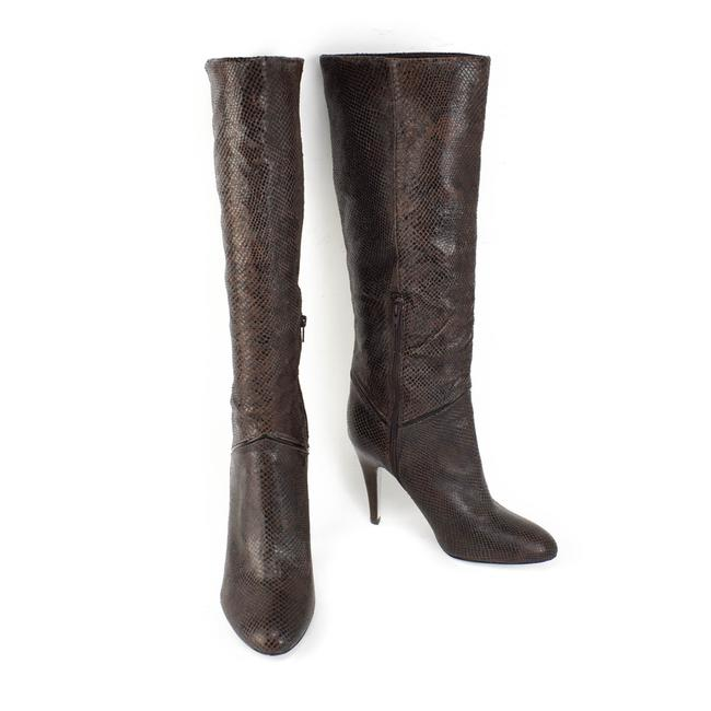 "Item - Brown Leather ""Python"" Tall Boots/Booties Size US 10 Regular (M, B)"