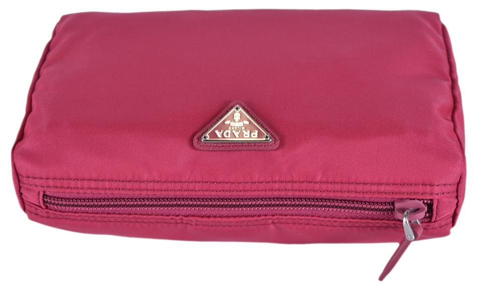 21a30ba38faff3 ... promo code for prada pink new womens 1na011 ibisco nylon makeup pouch  cosmetic bag 8558b db7d1