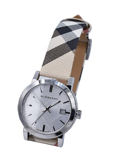 Burberry Burberry Watch BU9022 Heritage Nova Check Nylon and Leather Watch Image 2