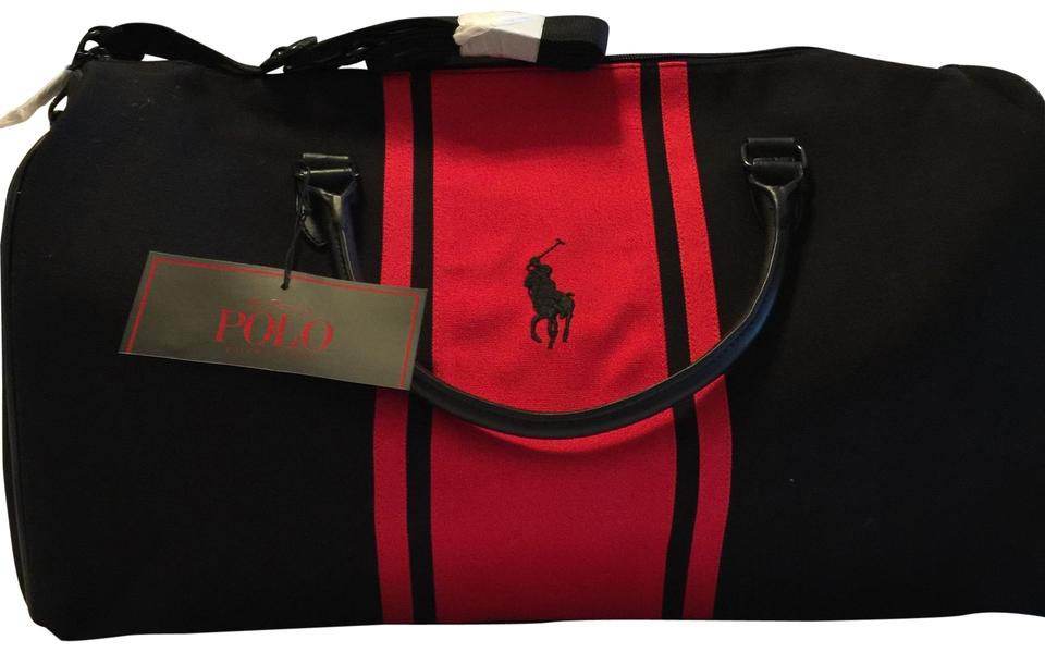 8eb502dc6d Monogramed Weekender  Duffle Gym Black   Red (Has A Black Overall Color  with A Red Banded Stripe and A Black Polo Horse Rider Logos Canvas Faux  Leather ...