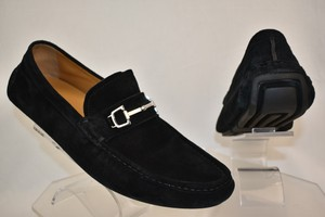 f4e948d67 Gucci Black Horsebit Suede Silver 370593 Driving Moccasins Loafers 8.5 9.5  Shoes
