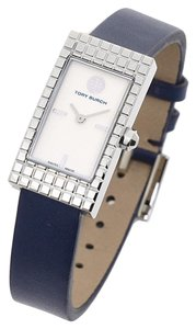 Tory Burch $350 NWT Buddy Signature Silver Tone NAVY Leather Watch TRB2002