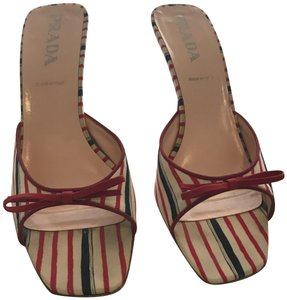 Prada Triolor- Red White Blue Mules