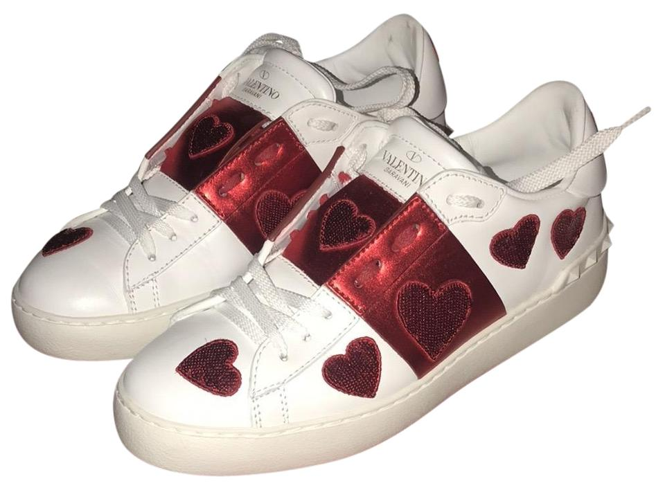 Heart White Sneakers Open Open Heart Red Red White xeBdoWrC