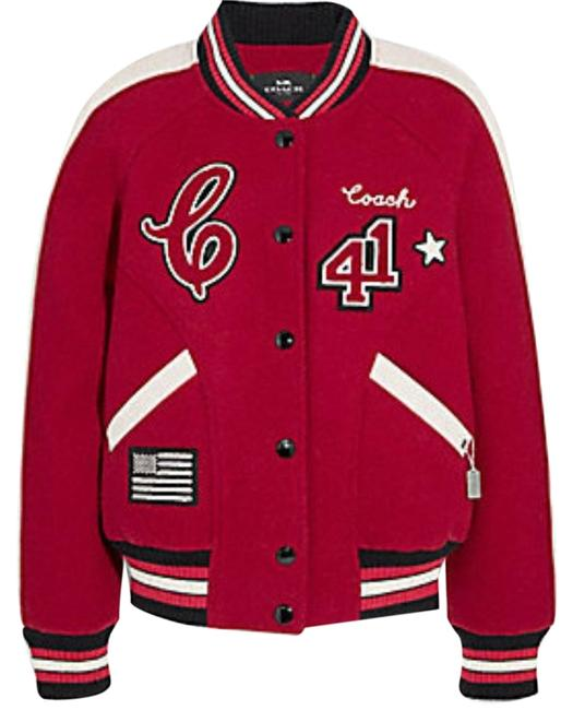 Item - Red Varsity with Patches Jacket Size 12 (L)