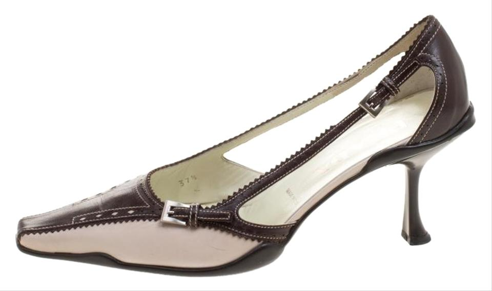 30213f284203 Prada Beige Two Tone Leather Pointed Toe Kitten Pumps Size EU 37.5 ...