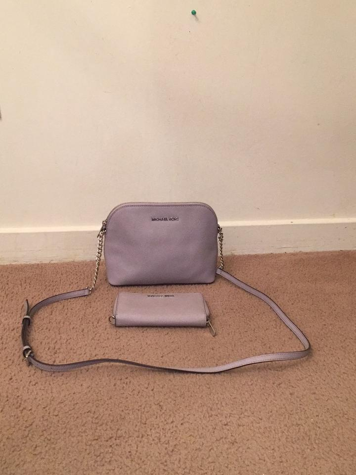 bb94750f8b3c5a Michael Kors Cindy Dome with Matching Wallet Purple/ Silver Cross ...